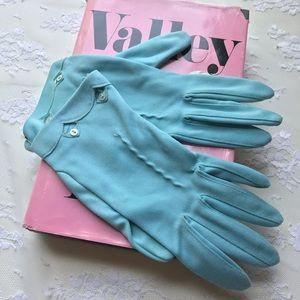 Vintage Mid Century Ladies Blue Gingerbread Gloves